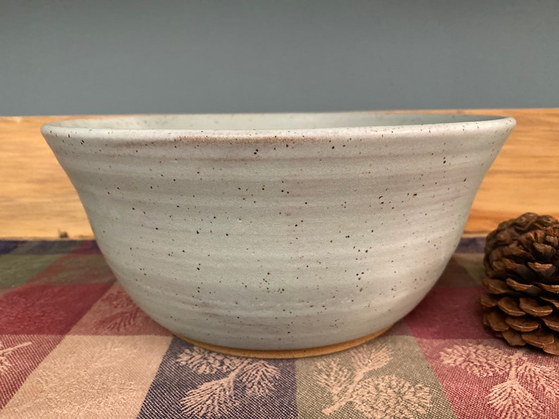 Icy turquoise pottery bowl