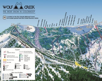 Wolf Creek Ski Map Wolf creek ski map | Etsy Wolf Creek Ski Map
