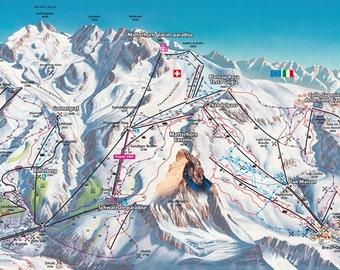 Zermatt map | Etsy on