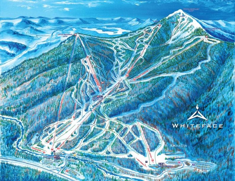 Lake Placid New York Map.2018 Whiteface Mountain Lake Placid New York Ski Trail Etsy