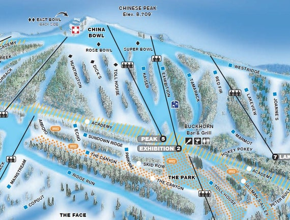 2017 CHINA PEAK Ski Map | Etsy on