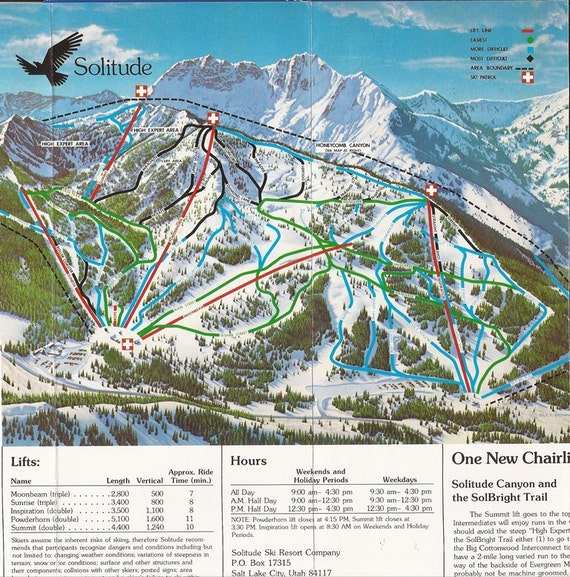 Solitude Utah Map.1982 Solitude Utah Ski Map Etsy