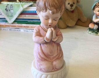 Praying Girl in Pink Nightgown on a Pedestal, Vintage Nursery Decor