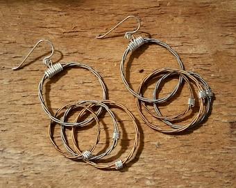 """Multiple """"Entwined"""" Cirlce Drop Earrings"""