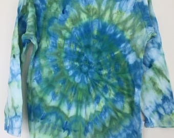 Cerulean Blue and Emerald green Ice dyed Long Sleeve Boys Shirt