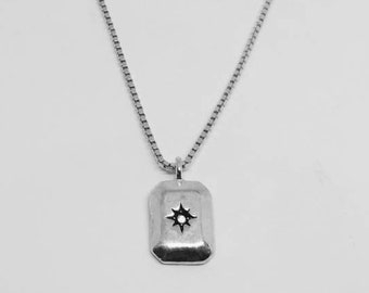 Charlot rectangle silver necklace, Rectangle silver necklace, Rectangle jewelry