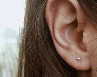 1 Silver dot earring silver earring dot stud earring