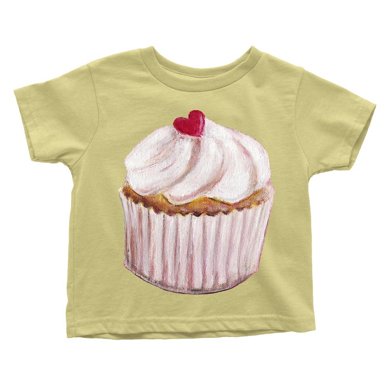 Cherry Sweet Heart Vanilla Cupcake Choose from the Baby Onesie or Infant Tee or Toddler T-shirt