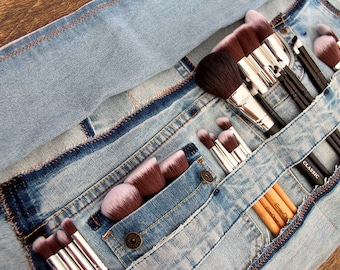 Recycled Jeans Brush Roll | Denim Cosmetic Storage | Brush Organizer | Handmade Brush Roll | One of A Kind