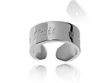Adjustable band ring engraved night in the Sun