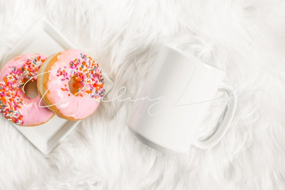 Download Coffee Mug Mockup Donut White Background Flat Lay Etsy