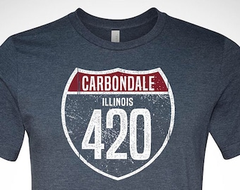 Gift for Boyfriend Carbondale Illinois Highway 420 T-shirt Celebrating Legal Weed In Illinois. Gift for Men SIU Alumni Gift