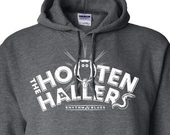 The Hooten Hallers Owl Design on Dark Heather Hooded Sweatshirt