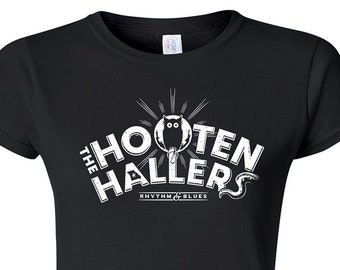 The Hooten Hallers Owl Design on Heavy 100% Cotton Women's Fit T-shirt Printed in White ink on Black Fem Fit Tee