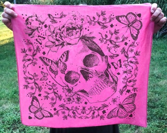 Botanical Print Butterfly and Skull Bandana Headscarf for Woman Gift for Her Hand Printed 100% Cotton Day of the Dead Bandana Gift Under 20