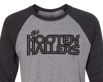 The Hooten Hallers Vintage Look Baseball T-shirt in Heather Grey with black 3/4 length sleeves. Super Soft Next Level Shirt with Black Print