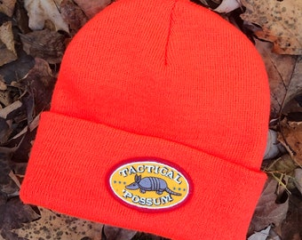 Christmas Gift for Him Armadillo Stocking Cap. Funny Texas Armadillo Beanie Hat with 'Tactical Possum Embroidered Patch. Gifts Under 30