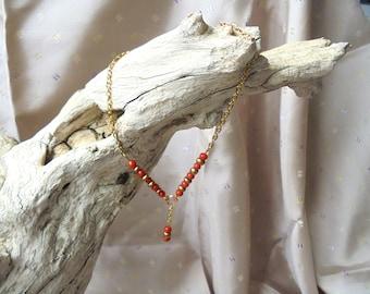 Red coral ankle bracelet