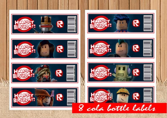 Digital Roblox Bottle Labels Birthday Party Printable