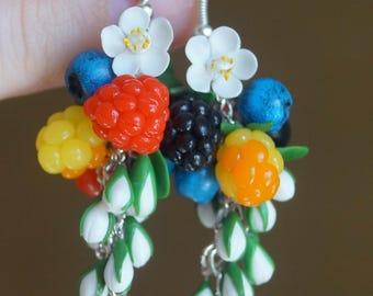 Berries earrings, Handmade berry, Polymer cjay earrings, Polymer clay berry, Berry earrings, Handmade earrings