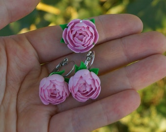 Set with peonies from polymer clay