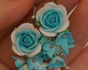 Long earrings, Blue earrings, Flower earrings, Polymer clay earrings, Roses earrings, Floral jewelry, Blue roses earrings