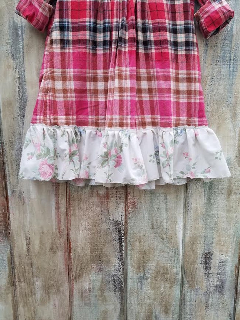 Soft /& Comfy Oversized Womens Plaid Ombre Plaid Flannel Shirt Patchwork Tunic Dress Boho Gypsy Hippie By Absolute Ambrosia