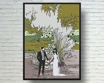 Digital wedding scene