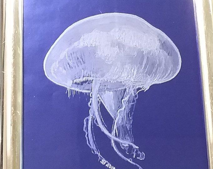Jellyfish on blue.
