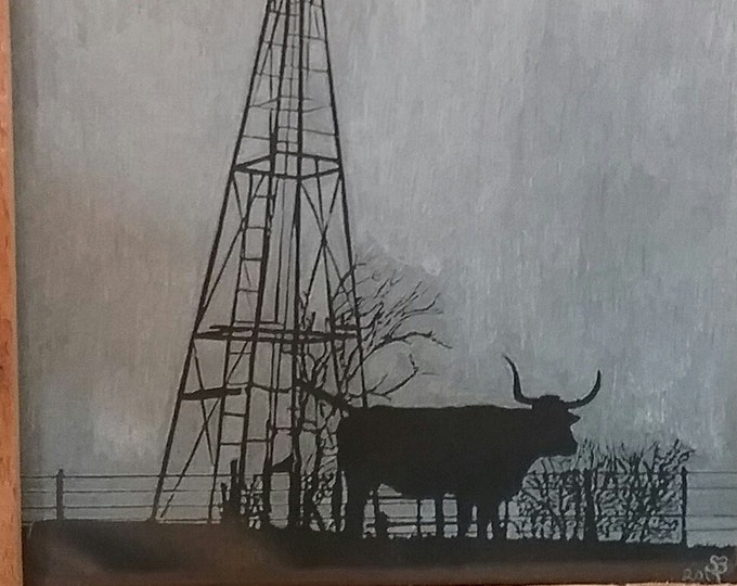 Texas Longhorn and windmill engraved in glass with a Dremel
