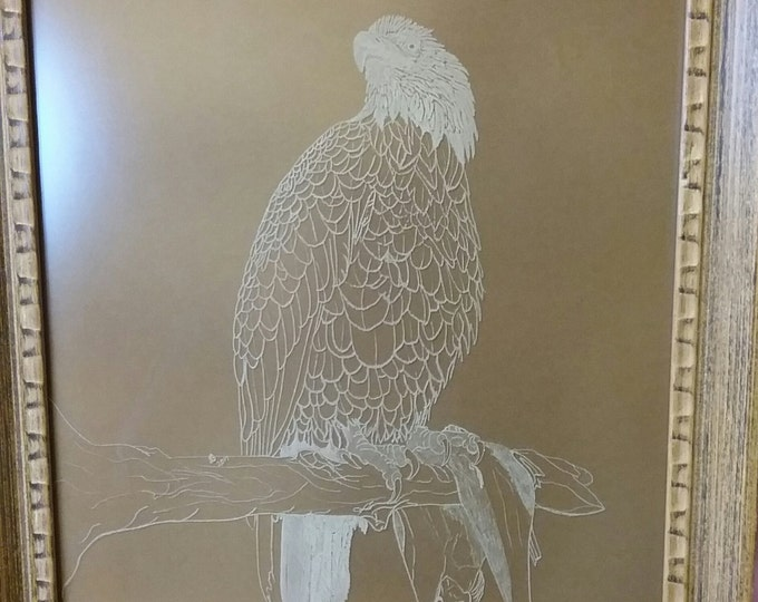 Bald Eagle engraved in glass