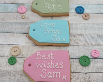 Birthday Gift Tag Cookies Male Female Present Treat Biscuits For Him Her Personalised Best Friend Add On