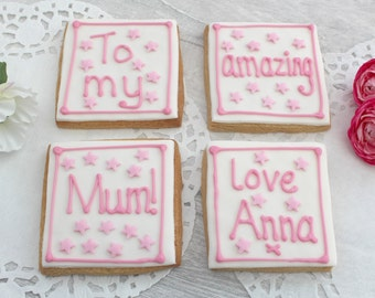 Mother's Day gift, gift for mum, decorated cookies, birthday gift for mother, personalised cookies, amazing mum, foodie gift, edible treat,