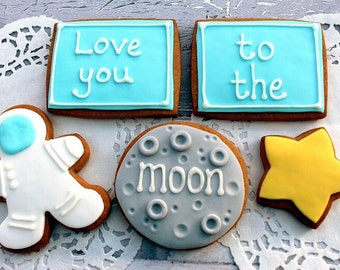 Love you to the moon Valentine's gift cookies, anniversary present