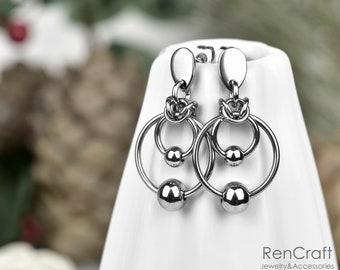 Drop Earrings European 4 in 1 Earrings Chainmail Earrings Stainless Steel Chainmaille Earrings Dangle Earrings Maille Earrings