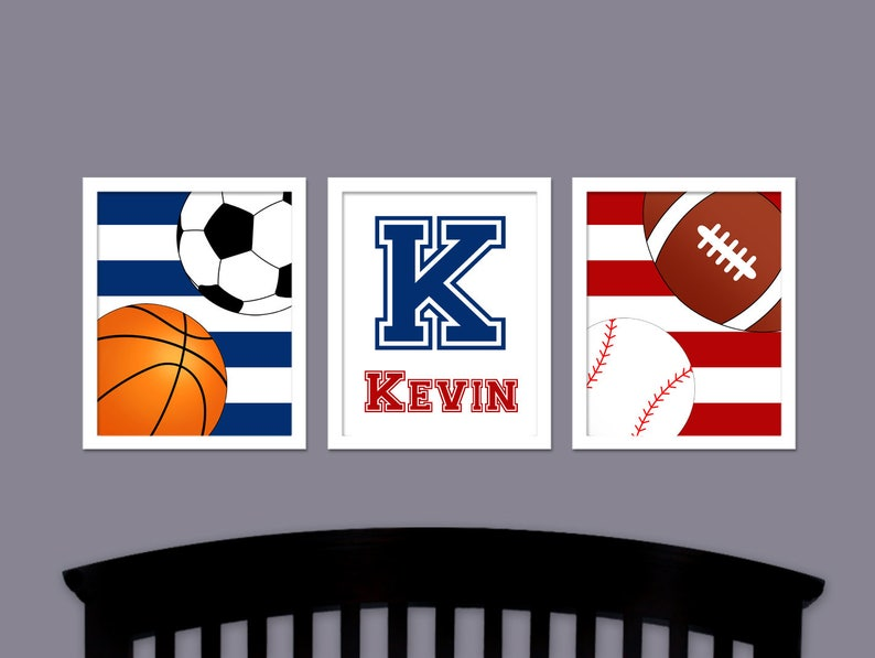 Baby Sports Nursery Wall Art - Boys Sports Bedroom Art - Sports Wall Art -  Basketball - Football - Sports Artwork - Boy Bedroom Pictures