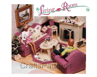 Plastic Canvas Pattern, Living Room For Barbie