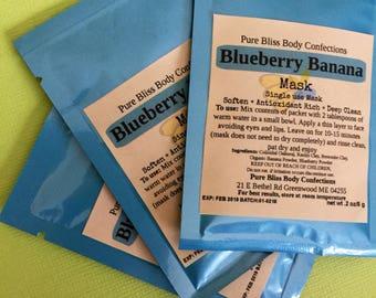 Blueberry Banana Mask, Single Use Mask, Clay Mask, Fruit Mask, Teen Easter Basket, Bachelorette Gift, Spa Gift, Blueberry, Banana, Bentonite