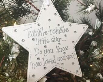 Personalised Christmas star plaque, twinkle twinkle little star, christmas hanging plaque, baby's first christmas decoration