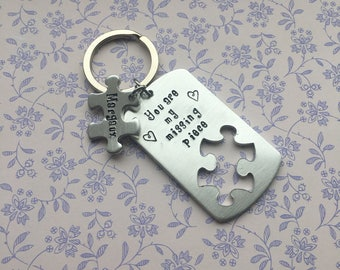 Personalised jigsaw keyring, missing piece, gift for other half, engagement gift, proposal gift, wedding gift, valentine gift