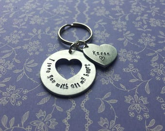 Stolen my heart keyring, personalised heart keyring, gift for husband, gift for wife, personalised anniversary gift, piece of my heart