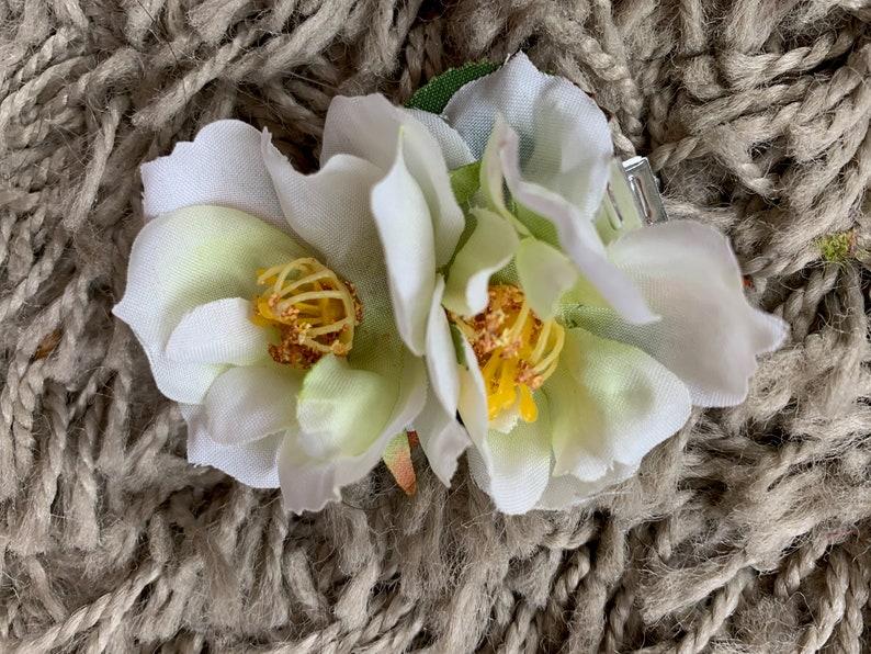 Double Dog Rose Rose hair Clip handmade in silk