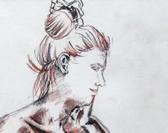 Portrait - conte on white cartridge