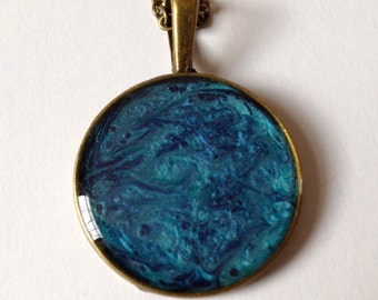 "Handmade Blue Marine & Turquoise Painted Resin Pendant. Abstract Pattern. 18"" Antique Bronze Chain."