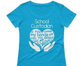 6d7eb171 School Custodian Full Heart - Ladies' Scoopneck T-Shirt - Teacher School  Gift