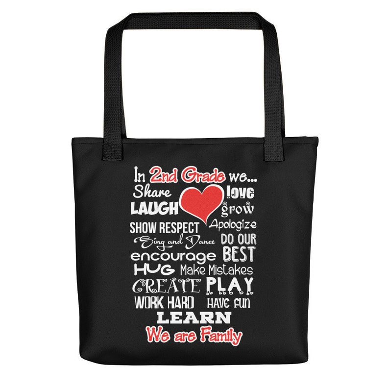 Second Grade We Are Family 2nd Grade Teacher Tote Bag School Gift Carry-all