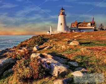 Pemaquid Lighthouse, Maine, Sunrise, Landscape Print Photograph, Wall Decor