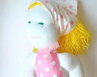 Handmade doll, Fabric doll, rag doll, cloth doll, white, pink, blonde hair, gift, girl, fashion doll, one of a kind