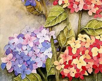 """Hydrangeas - Original 14 x 18"""" Watercolor"""