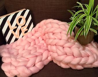Plaid Merinos chunky knit handmade, Merino blanket, couverture géante, chaude, warm, grosses mailles, Merino Wool, homemade, plaid cosy